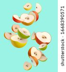 colorful apple slices. stylized ... | Shutterstock .eps vector #1668390571