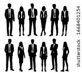 vector silhouettes of  men and... | Shutterstock .eps vector #1668401254