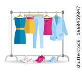 clothes hanger with different... | Shutterstock .eps vector #1668459847