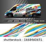cargo van wrap decal designs.... | Shutterstock .eps vector #1668460651