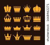 golden isolated crown on black... | Shutterstock .eps vector #1668462271