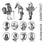 animal characters set. bald... | Shutterstock .eps vector #1668470017