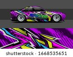 full car wrap design. abstract ... | Shutterstock .eps vector #1668535651