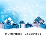 christmas blue background with... | Shutterstock . vector #166854581