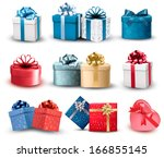 set of colorful gift boxes with ... | Shutterstock .eps vector #166855145