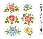 Stock vector vintage vector set of retro flowers 166857821