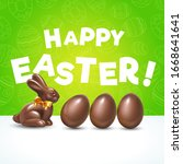 easter chocolate eggs with... | Shutterstock .eps vector #1668641641