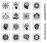 artificial intelligence icons.... | Shutterstock .eps vector #1668649591