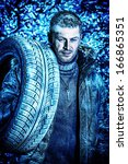 handsome brutal man dressed in... | Shutterstock . vector #166865351