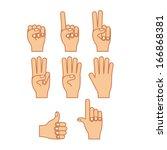 hands gesture over white ... | Shutterstock .eps vector #166868381
