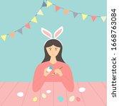 happy easter theme. cute girl... | Shutterstock .eps vector #1668763084