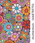 psychedelic art floral...   Shutterstock .eps vector #1668785701