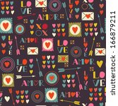 seamless pattern of valentines... | Shutterstock .eps vector #166879211