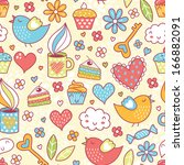 romantic seamless pattern.... | Shutterstock .eps vector #166882091