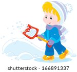 child with a snow shovel | Shutterstock .eps vector #166891337