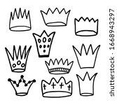 Set Crown Logo Icons. Black...