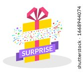 surprise gift box with ribbon ...   Shutterstock .eps vector #1668944074