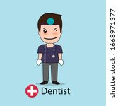 dentist  cartoon character...   Shutterstock .eps vector #1668971377