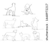 dog in one continuous line... | Shutterstock .eps vector #1668972217
