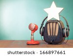 retro radio  red microphone ... | Shutterstock . vector #166897661