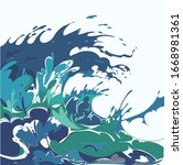 Blue Sea Wave. Abstract Modern...
