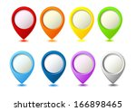 set of bright map pointers | Shutterstock .eps vector #166898465