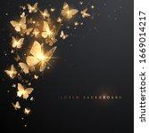 gold butterflies with light... | Shutterstock .eps vector #1669014217