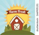farm fresh label over sky... | Shutterstock .eps vector #166905131
