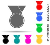 medal multi color style icon....