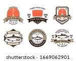 vector salmon brown and gold... | Shutterstock .eps vector #1669062901