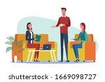 office workers having... | Shutterstock .eps vector #1669098727