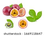 passion fruit with leaf on... | Shutterstock . vector #1669118647