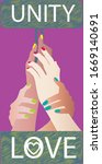 multiple clasping of hands... | Shutterstock .eps vector #1669140691