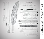 stationery drawing tools doodle ... | Shutterstock .eps vector #166914161