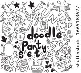 hand drawn party doodle happy...   Shutterstock .eps vector #1669183627