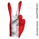 victory finger gesture with...   Shutterstock .eps vector #1669298101