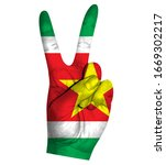 victory finger gesture with...   Shutterstock .eps vector #1669302217