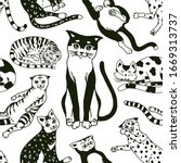 funny cats. seamless pattern or ... | Shutterstock .eps vector #1669313737
