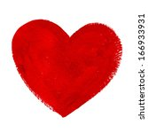 red acrylic painted vector heart | Shutterstock .eps vector #166933931