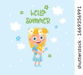 hello summer greeting card. ute ... | Shutterstock .eps vector #1669356991
