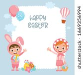happy easter greeting card... | Shutterstock .eps vector #1669356994