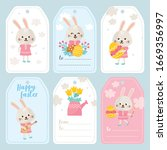 happy easter greeting card set. ... | Shutterstock .eps vector #1669356997