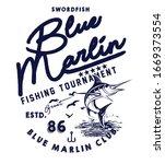blue marlin fishing logo... | Shutterstock .eps vector #1669373554