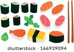 big sushi and sashimi set with... | Shutterstock .eps vector #166939094