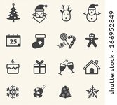 christmas and new year icons set | Shutterstock .eps vector #166952849