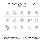 Thanksgiving Day Line Icon Set...
