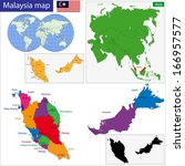 map of malaysia with the states ... | Shutterstock .eps vector #166957577