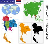 map of kingdom of thailand with ... | Shutterstock .eps vector #166957601