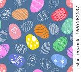 colorful easter eggs seamless...   Shutterstock .eps vector #1669582537