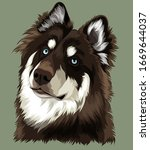 husky reddish brown dog vector | Shutterstock .eps vector #1669644037